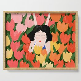 Lady in the tulips field Serving Tray