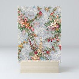 Vintage Floral Silk Pattern Block Print, 1851 Mini Art Print