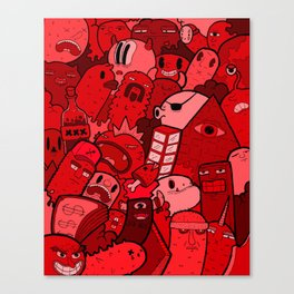 Doodle Red Canvas Print
