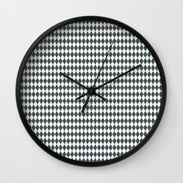 PPG Night Watch Pewter Green Rippled Diamonds, Harlequin, Classic Rhombus Pattern Wall Clock