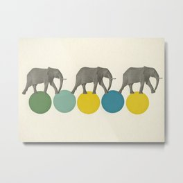Travelling Elephants Metal Print
