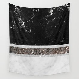 Black and White Marble Silver Glitter Stripe Glam #1 #minimal #decor #art #society6 Wall Tapestry
