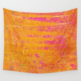 Orange & Hot Pink Abstract Art Collage Wall Tapestry