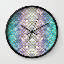 Pretty Mermaid Scales Wall Clock