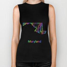 Rainbow Maryland map Biker Tank