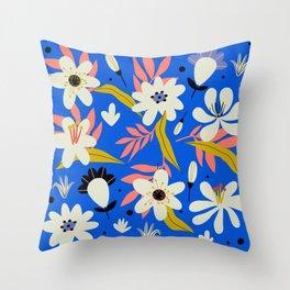Retro garden flowering elements Throw Pillow