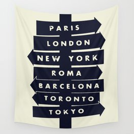 City signpost world destinations Wall Tapestry