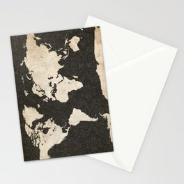 World Map - Ink lines Stationery Cards