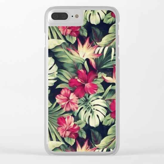 Night tropical garden Clear iPhone Case