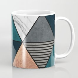 Copper, Marble and Concrete Triangles 2 with Blue Coffee Mug