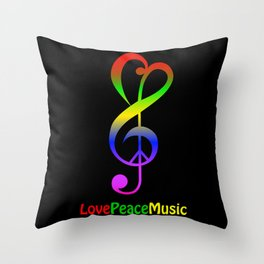 Love peace music hippie treble clef Throw Pillow