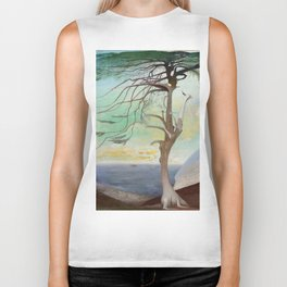 Lonely Cedar Tree Landscape Painting Biker Tank