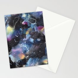 Galaxy sky in watercolors with star constellations Stationery Cards
