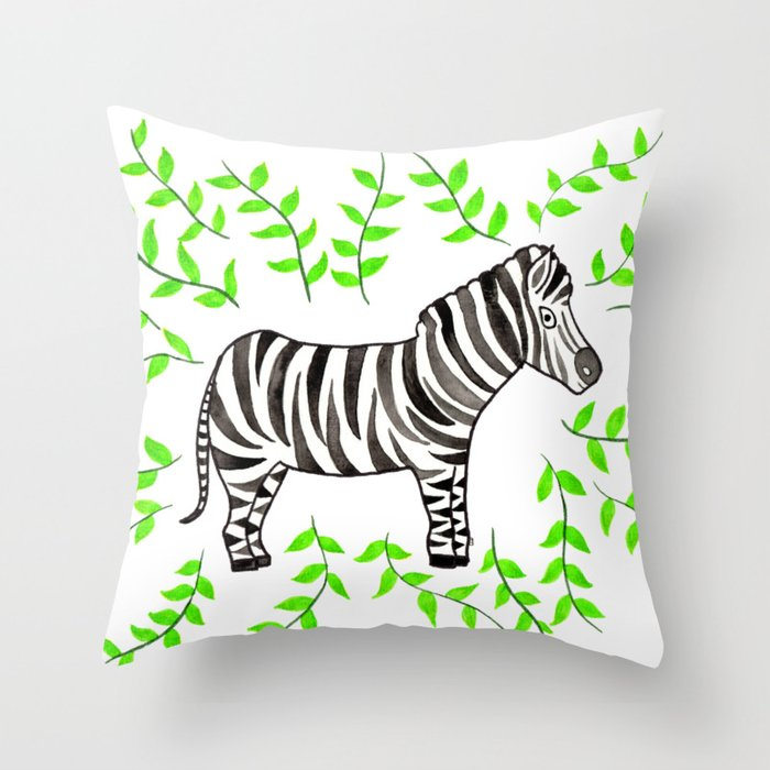 Watercolor Art | Zebra Throw Pillow