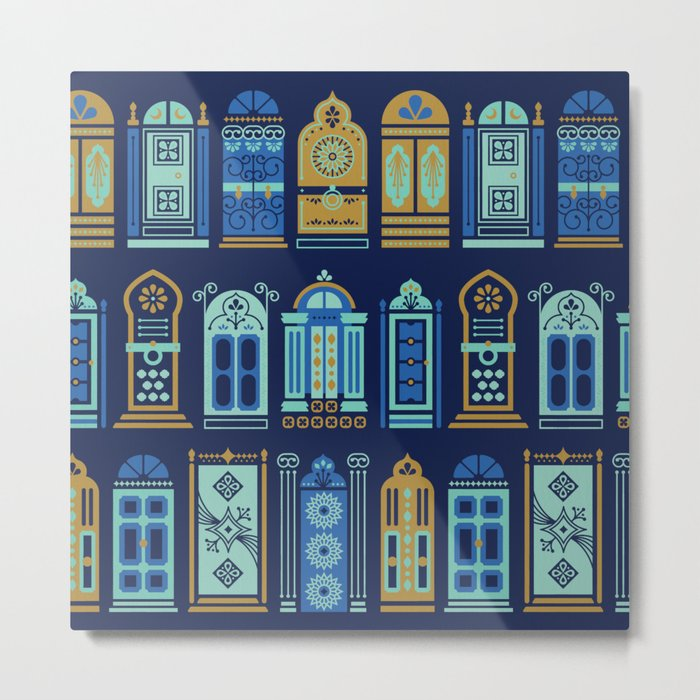 Moroccan Doors – Navy Palette Metal Print
