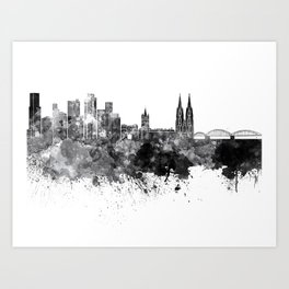 Cologne skyline in black watercolor on white background Art Print