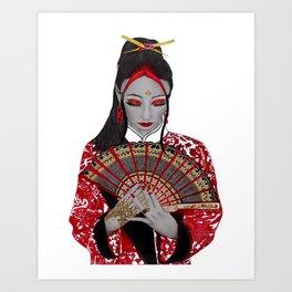 Red Geisha Girl Art Print