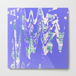 Random abstract design shapes on the blue wall Metal Print