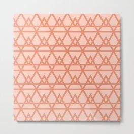 Pyramidal - Geometric Minimalist Pattern in Peachy Pink Metal Print