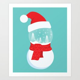 Snow Man versus Snow Ball Merry Christmas Art Print