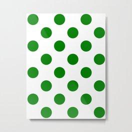 Large Polka Dots - Green on White Metal Print