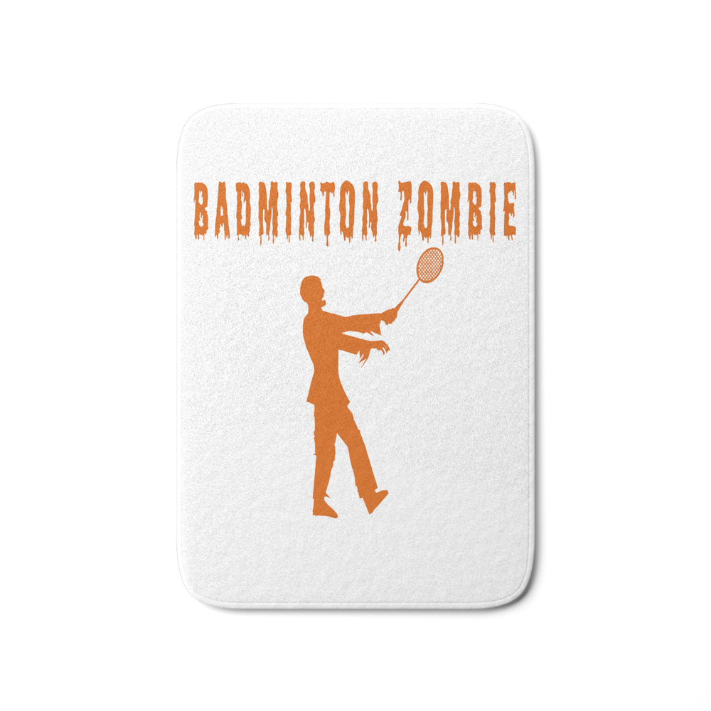 Funny Halloween Badminton Zombie Bath Mat by desteesigners