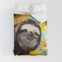 Sloth with Sunflowers Comforters
