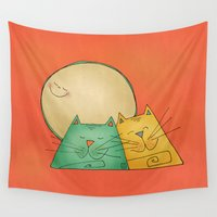 cats Wall Tapestries featuring Cats by Catru