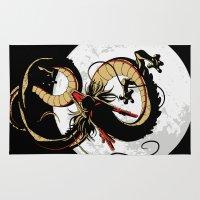 dragon ball Area & Throw Rugs featuring Black Dragon by TxzDesign