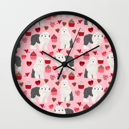Old English Sheepdog valentines day hearts cupcakes pattern pet portrait dog art gifts love Wall Clock