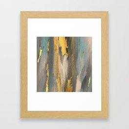 Colorful Paint Brushstrokes Gold Foil Abstract Texture Framed Art Print