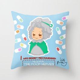 Mrs Bennet Throw Pillow