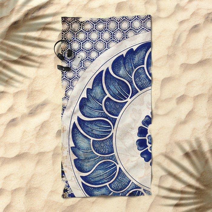 Blue Oriental Vintage Tile 05 Beach Towel