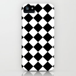 SMALL BLACK AND WHITE HARLEQUIN DIAMOND PATTERN iPhone Case
