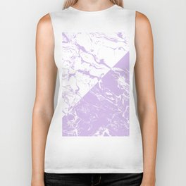 modern color block inverted white purple lavender marble pattern Biker Tank