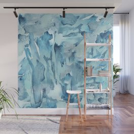 Blue Watercolor Fracture Abstraction Wall Mural