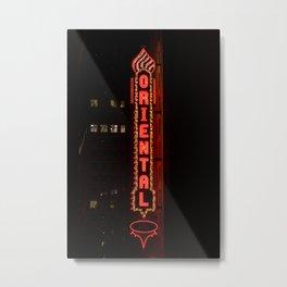 Vintage Oriental Neon Sign Lost Chicago Theatre District Vertical Marquee  Metal Print