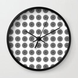 Black and White Mandala   Secret Geometry Wall Clock