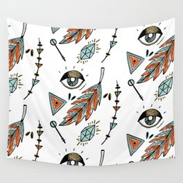 Boho eyes & feathers Wall Tapestry