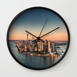 manahttan with fireworks Wall Clock