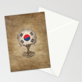 Vintage Tree of Life with Flag of South Korea Stationery Cards