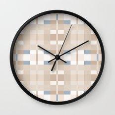 Beige and Blue Color Blocks Geometric Pattern Wall Clock