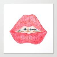 lip Canvas Prints featuring lip teeth by ArtSchool