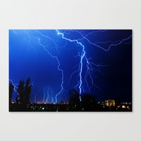 lightning Canvas Prints featuring Lightning by pakowacz