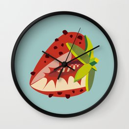 Strawberry illustration Wall Clock