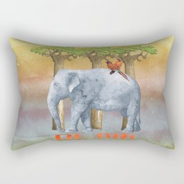 ELE FUN - Elephant Elephants Africa Watercolor Illustration Rectangular Pillow