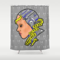 robocop Shower Curtains featuring Robogirl by Andrew Mark Hunter