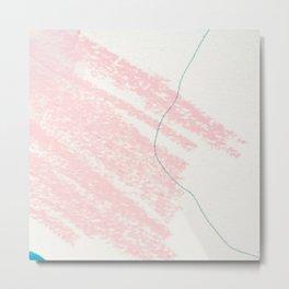 Blush pink white blue watercolor crayon strokes pattern Metal Print