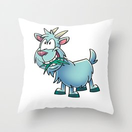 Goat Eating Grass Throw Pillow