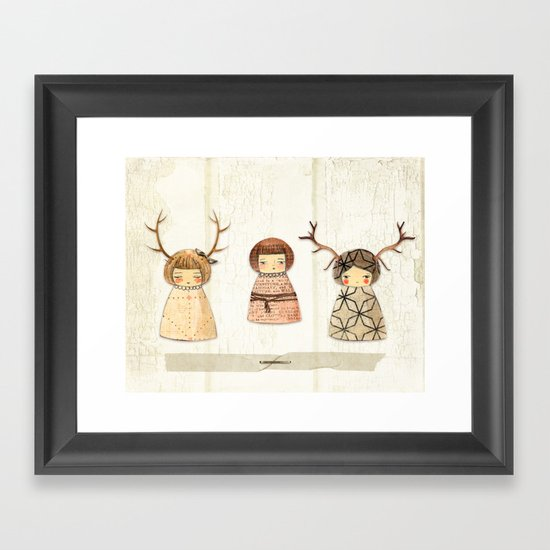 Deer paperdolls Framed Art Print